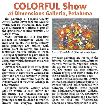 COLORFUL Show at Dimensions Galleria, Petaluma
