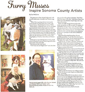 Sonoma Pets article - 'Furry Muses Inspire Sonoma County Artists'